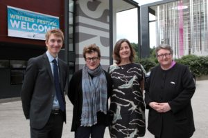 Meg Rosoff with Prof Simon Jobson, Festival Director Judith Heneghan and Deputy Vice Chancellor Prof Liz Stuart